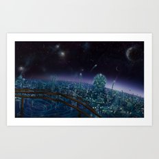 Living On Antaries - cityscape photoshop painting of alien world Art Print