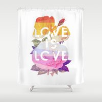 politics Shower Curtains featuring Love is Love by Heather Landis