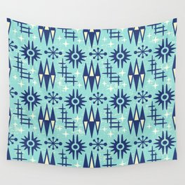 Mid Century Modern Atomic Space Age Pattern Blue Wall Tapestry
