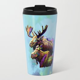 Colorful Moose Travel Mug