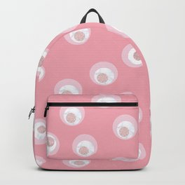 Cute white marble faux rose gold glitter & pink circles Backpack