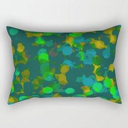 circle shape painting in green orange and blue Rectangular Pillow