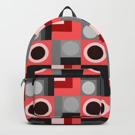 Pink and Grey Geometric Backpack