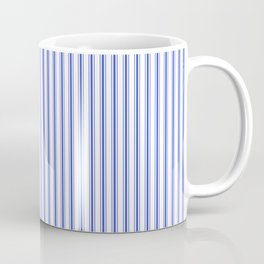 Small Vertical Cobalt Blue and White French Mattress Ticking Stripes Coffee Mug