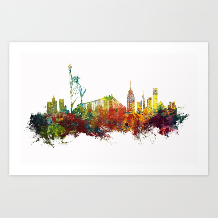 Colored New York City skyline Art Print
