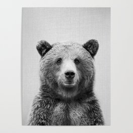 Grizzly Bear - Black & White Poster