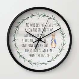 Moms Love w/Weathered wood background Wall Clock
