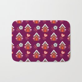 Lovely magical gingerbread houses, colorful sweet candy lollipops. Retro vintage Christmas pattern Bath Mat