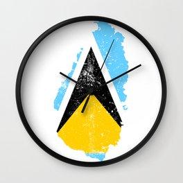 Distressed Saint Lucia Map Wall Clock