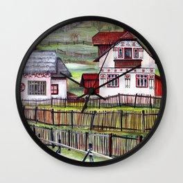 Transylvania Romania in Watercolor Picturesque Landscape Scenery Wall Clock