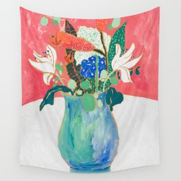Bouquet of Flowers in Alexandrite Inspired Vase against Salmon Wall Wall Tapestry