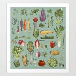 Vegetables of the UK Art Print