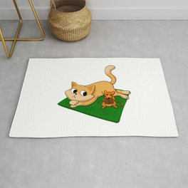 Cat and mouse reading book Rug