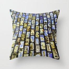 Blue Brick Road II Throw Pillow