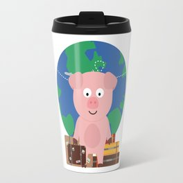 Globetrotter Travel Pig with Suitcases Bfrz8 Travel Mug