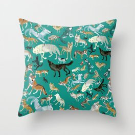Wolves pattern in blue Throw Pillow
