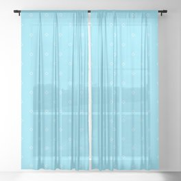Turquoise And White small square pattern Sheer Curtain
