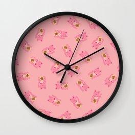 Lucky Cat Patern in Bubblegum Pink Wall Clock