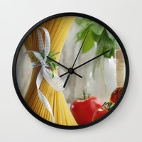 pasta Wall Clocks featuring delicious pasta by Tanja Riedel