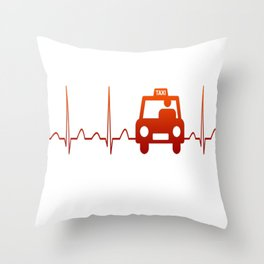 TAXI DRIVER HEARTBEAT Throw Pillow