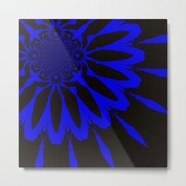 The Modern Flower Black and Blue Metal Print