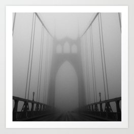 St Johns Bridge in Fog 2, Portland, Oregon Art Print