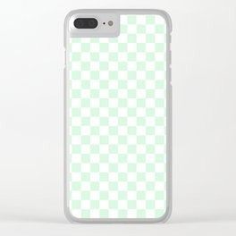Small Checkered - White and Pastel Green Clear iPhone Case