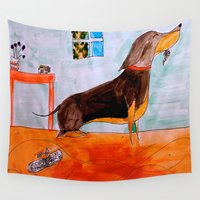 dachshund Wall Tapestries featuring Dachshund by Caballos of Colour