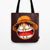 luffy Tote Bags featuring Luffy & Nose Sticks! by Orfik