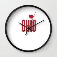 ohio Wall Clocks featuring Ohio Heart by KatieKatherine
