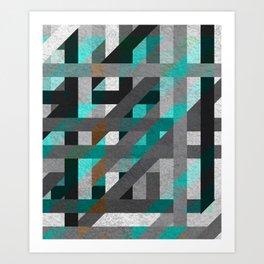 Line Tiles Textured Art Print