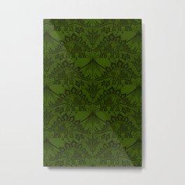 Stegosaurus Lace - Green Metal Print