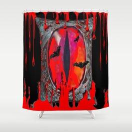 Red  Hells Gate Portal Blood & Bats Shower Curtain