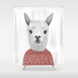 Lama in a sweater Shower Curtain