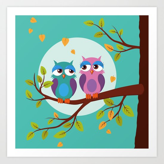 Sleepy owls in love Art Print