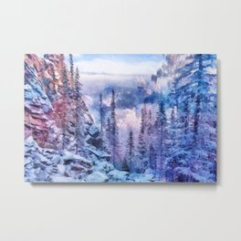 Winter forest in the mountains II Metal Print