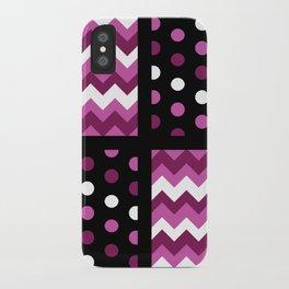 Black/Two-Tone Mulberry/White Chevron/Polkadot iPhone Case