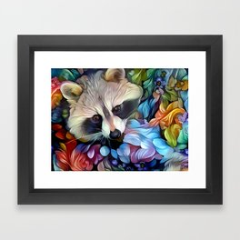 Peekaboo Raccoon Framed Art Print