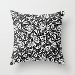 Monarch Butterflies Pattern | Butterfly Pattern | Black and White | Throw Pillow