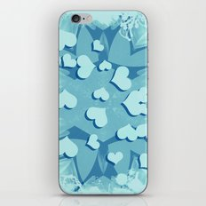 Grunge floating hearts in blue iPhone Skin