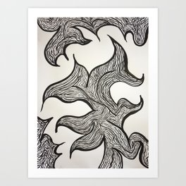 Black and white abstract lines Art Print
