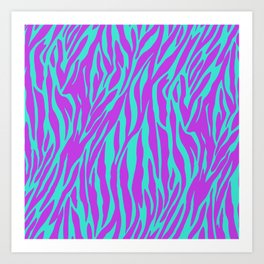 Purple and Green Zebra print Art Print