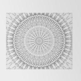 Gray White Mandala Throw Blanket