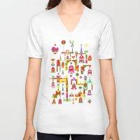 cartoons V-neck T-shirts featuring Harmony Chime by C86 | Matt Lyon