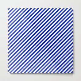 Small Cobalt Blue and White Candy Cane Stripe Metal Print