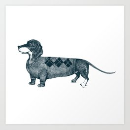 Dachshund wearing argyle sweater Art Print