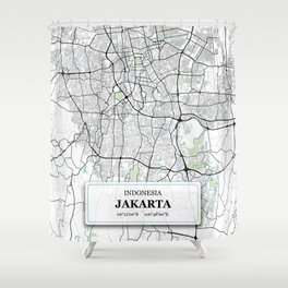 Jakarta Indonesia City Map with GPS Coordinates Shower Curtain