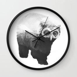 Owlbear in Mountains (Black & White) Wall Clock