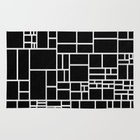 phil jones Area & Throw Rugs featuring BW Pattern PHIL by MehrFarbeimLeben