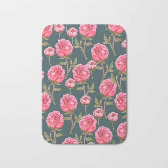 Pink Peonies On Green Background Bath Mat